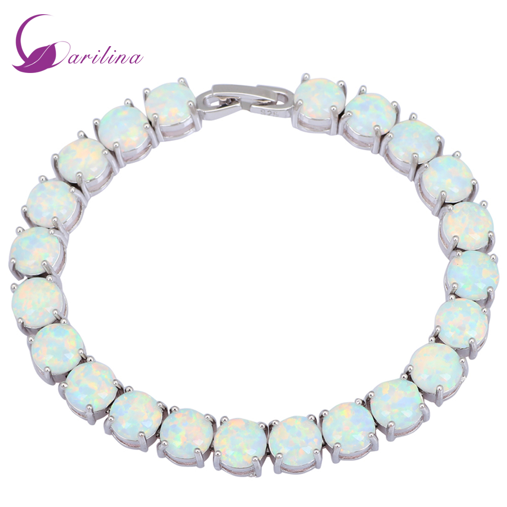 Glam Luxe Mysterious Silver White Fire Opal Bracelets & Bangles For Teen Girls Pulseiras Femininas Jewelery Woman Wedding B434