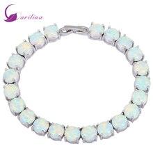 Glam Lüks Gizemli Gümüş Beyaz Ateş Opal Bilezik ve bilezik genç kızlar için pulseiras femininas takı kadın düğün B434