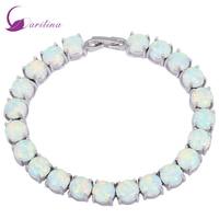 Glam Luxe Mysterious Silver White Fire Opal Bracelets Bangles For Teen Girls Pulseiras Femininas B434