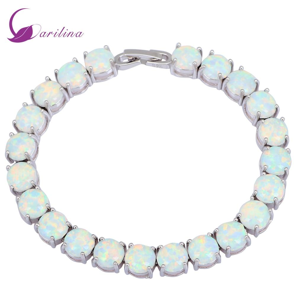 Glam Luxe Mysterious Branco Opal de Fogo de Prata Pulseiras & bangles para meninas adolescentes pulseiras femininas jóias de casamento mulher B434