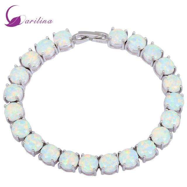 Glam Luxe Mysterious Silver White Fire Opal Bracelets & bangles for teen girls pulseiras femininas jewelery woman wedding B434