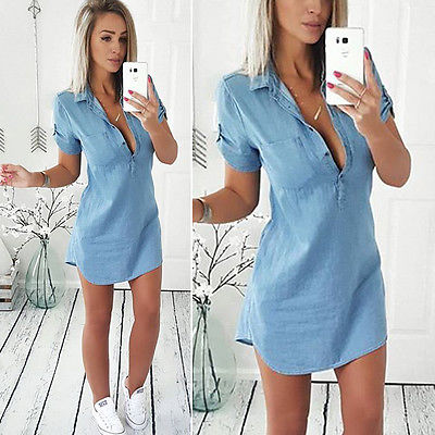Donne di modo di Estate Allentata del Denim Casuale Manica Corta Shirt Top Camicetta Dress Taglia S-XL