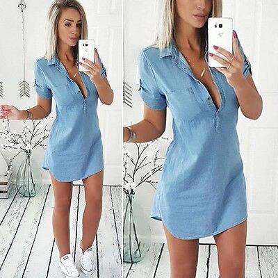 Donne di modo di Estate Allentata del Denim Casuale Manica Corta Shirt Top Camicetta Dress Taglia S-XL