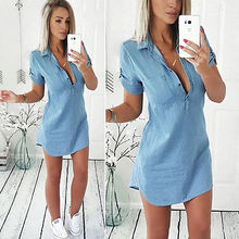 Модные женские туфли летние свободные Повседневное джинсовая футболка с коротким рукавом Блузка Платье размеры s-xl