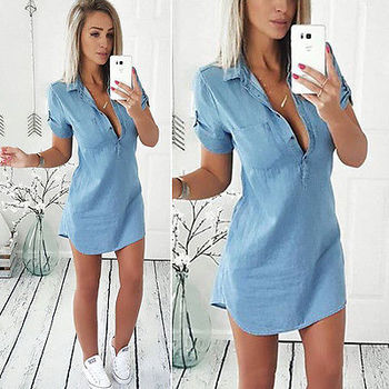 Hirigin Brand Vestidos 2018 Hot Sale Fashion Sexy Women Summer Loose Casual Denim Short Sleeve Shirt Tops Blouse Dress Size S-XL