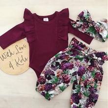 princess girl clothes set fly sleeve romper+floral pants+headband clothes autumn wear 0-18m