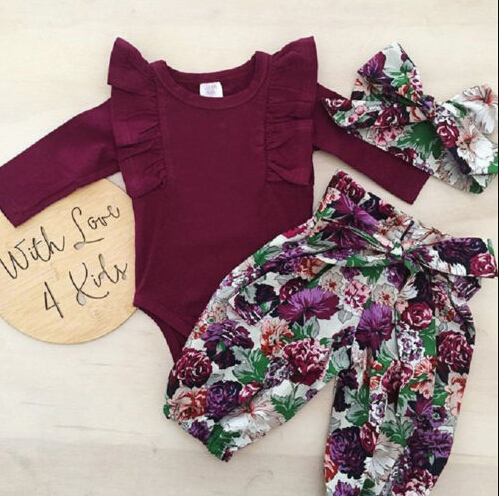 Girl Clothes Set Fly Sleeve Romper +Floral Pants +Headband 0-18m