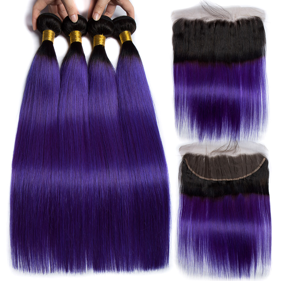ALIBELE Ombre Human Hair Bundle with Lace Closure Remy Hair Weave 1B Purple 2 Tone Peruvian