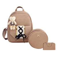 3pcs Set Female Backpack Women PU Bags Tie Backpack Round Shoulder Crossbody Card Bag For Girls