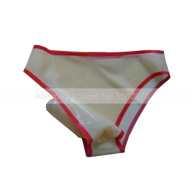 b6d3d0d65843 € 35.07 5% de DESCUENTO|Ropa interior femenina Sexy de látex de goma  pantalones cortos transparentes de mujer con un condón de pene ropa  interior de ...