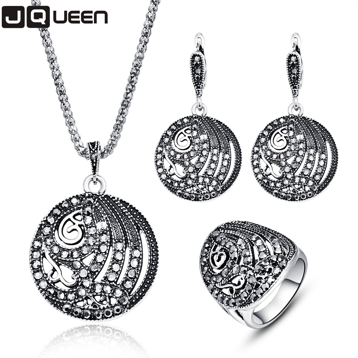 font b Luxury b font Vintage Silver Color Turkey Crystal Round Ring Earring And Pendant