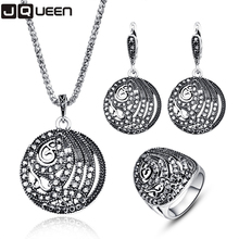Luxury Vintage Silver Color Turkey Crystal Round Ring Earring And Pendant Necklace For Women Gift