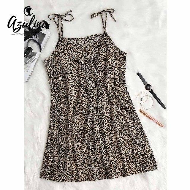 AZULINA Leopard Print Tie Strap Slip Dress Summer Dresses Women V-Neck  Sleeveless Mini Vestidos 2018 Versatile Dress Robe Femme b113ae9f0