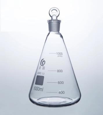 Stoppered Conical glass flask Erlenmeyer Flask triangle glass flask with stopper borosilicate glass for laboratory conical iodine quartz flask with stooper triangle quartz flask