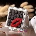 Banquete de boda de dama de honor novia de regalo promocional, bling crystal rhinestone sexy lip, mini belleza maquillaje espejo de bolsillo compacto
