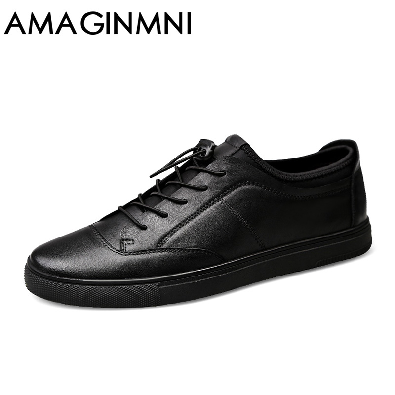 AMAGINMNI Big Size Men Shoes Fashion 2017 New Men's casual shoes Leather shoes men Durable and comfortable Luxury classic style 2017 new spring imported leather men s shoes white eather shoes breathable sneaker fashion men casual shoes
