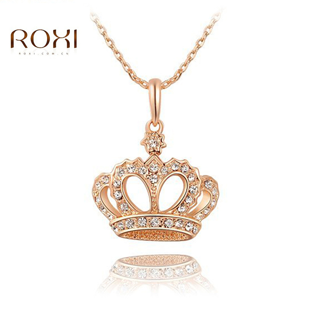 6a139916548 ROXI Long Women Necklace Charms Crown Queen Crystal Necklaces Cute Chain  Rose Gold Pandent bijoux femme
