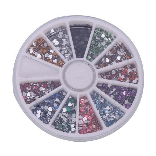 Nail Art Gems Mixed Colours Shapes in Round Case 3000pcs