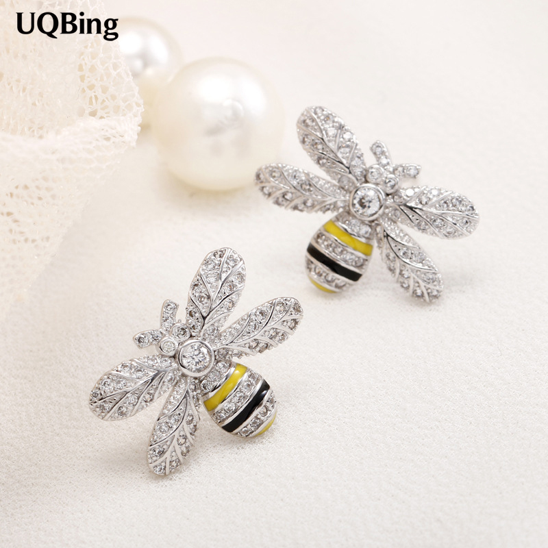 Free Shipping Fashion Plata 925 Sterling Silver Rhinestone Bee Stud Earrings Jewelry Pendientes de Plata Brincos pair of stylish rhinestone triangle stud earrings for women