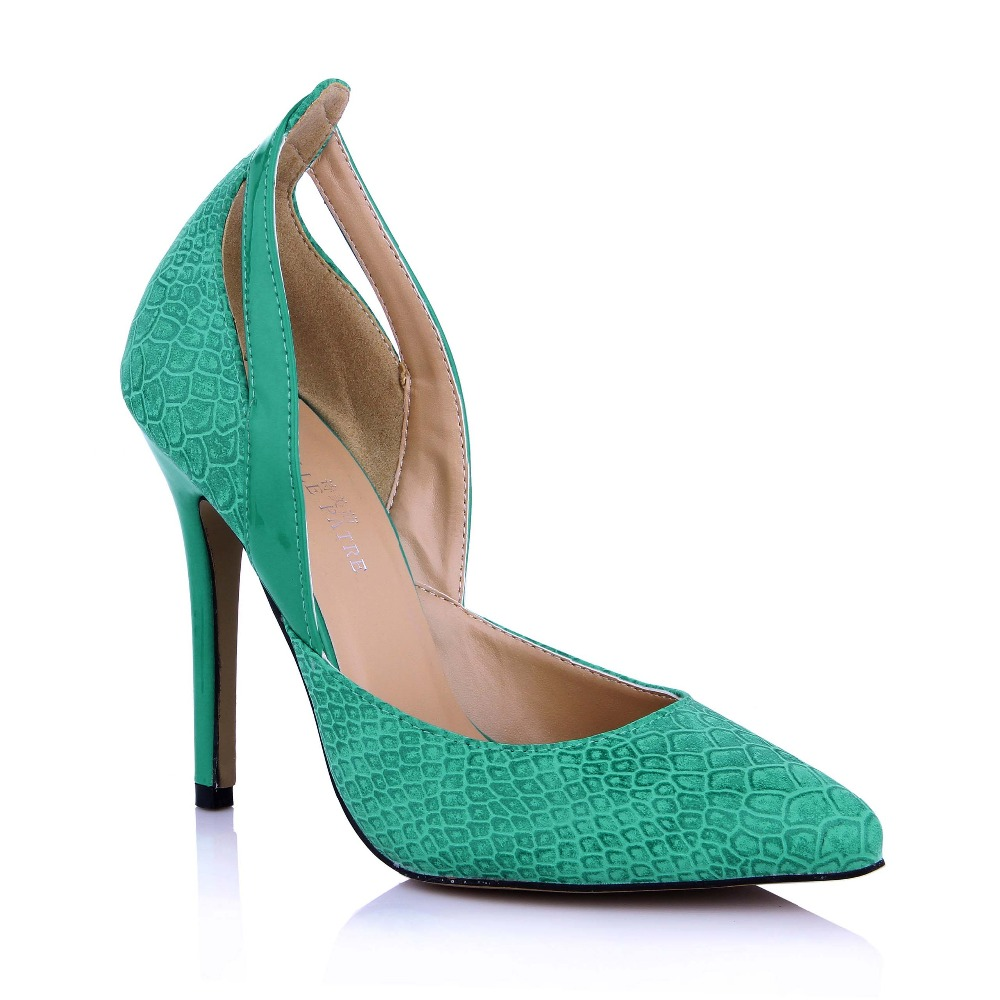 Newest Trend Slip-on Fashion Cut-outs Women Shoes Sexy Green PU Snakeskin Pointed Toe Thin High Heels Party Wedding Dress Pumps newest flock blade heels shoes 2018 pointed toe slip on women platform pumps sexy metal heels wedding party dress shoes