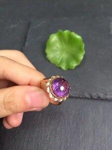Image 4 - Anillo de oro de 18 quilates con gemas amatista Natural, joyería fina, con diamantes redondos, para mujeres