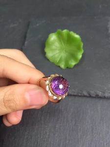 Image 4 - Fine Jewelry Real 18K Gold Round Diamonds100% Natural Amethyst Gemstones Female Rings for Women Fine Ring
