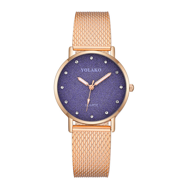 Rose Gold Top Luxury Brand Watch Fashionable High Hardness Glass Mirror Men  And Women General Mesh d19d183d47