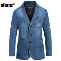 Aismz Men Fashion Demin Blazer New Arrival Full Sleeve Straight Single Breasted Spring Suits Plus Size M-4XL blazer masculino