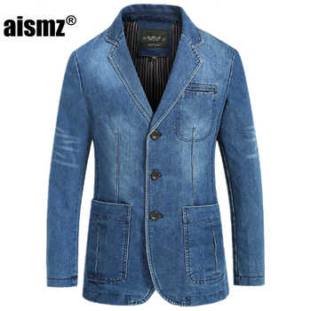 Aismz Men Fashion Demin Blazer New Arrival Full Sleeve Straight Single Breasted Spring Suits Plus Size M-4XL blazer masculino - DISCOUNT ITEM  12% OFF All Category
