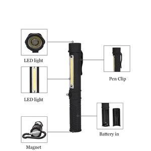 Image 2 - 多機能cob ledミニペントーチ軽作業検査led懐中電灯トーチランプ下部磁石とクリップで黒/レッド/ブルー