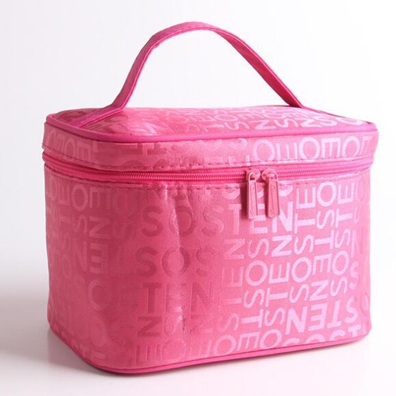 PINK Make up organizer bag Women Men Casual travel bag multi functional Cosmetic Bags storage bag in bag Makeup Handbag