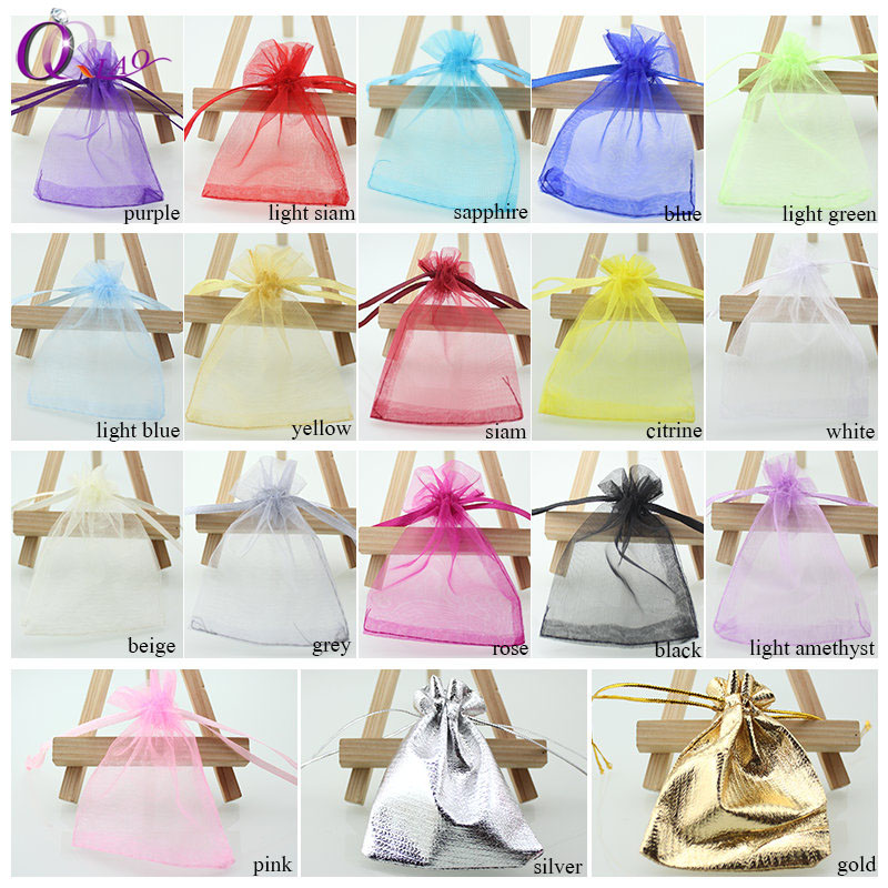 100pcs/lot 7*9cm organza bag Christmas wedding gift bag 16 color selection jewelry packing Display jewelry bag&pouch favor bags 25 35cm 10 pcs lot faory christmas organza bags mini plastic bags