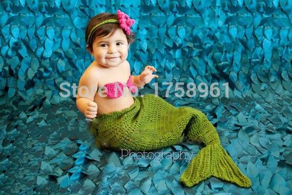 Crochet Mermaid Tail Bikini Top And Star Fish Headband Toddler