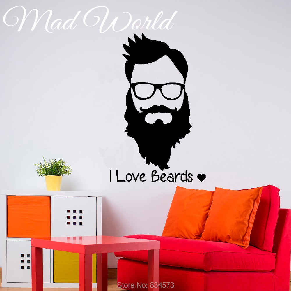 Barber Shop Hipster Face I Love Beards Wall Art Sticker Decal Home DIY Decoration Decor Wall Mural Removable Room Decal Stickers