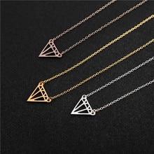 geometric hollow nut cone lozenge charm necklace flat polygon triangle shape hollow pendant ladies rhombus pendant necklace rhombus triangle faux gem necklace
