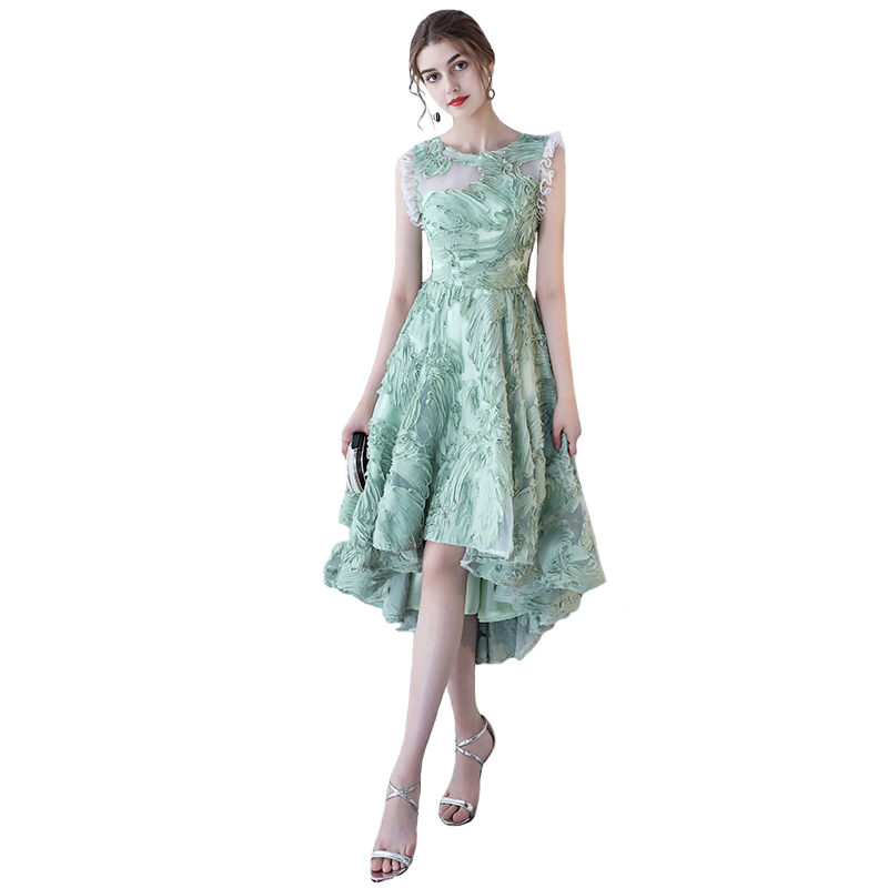 여름 신선한 녹색 짧은 칵테일 드레스 연회 높은/낮은 짧은 전면 긴 위로 레이스 파티 드레스 정장 드레스