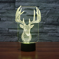 3D Optical Illusion Elk Shape 7 Colors Change Touch Botton Micro USB Powerd Desk Table Lamp Night Light Novelty Holiday Lighting