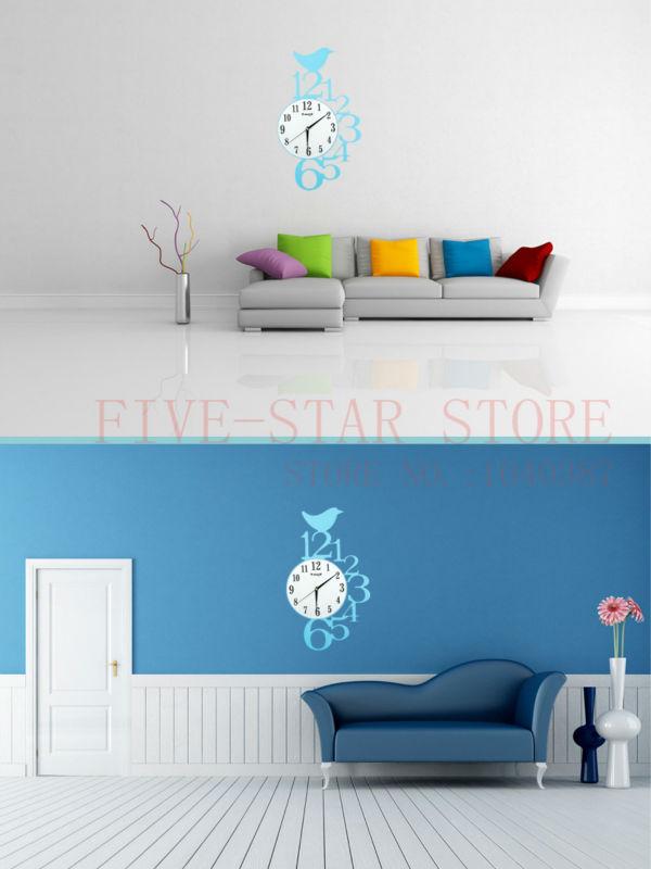 Mode moderne ontwerp blauwe vogel kind wandklok grote digitale ...