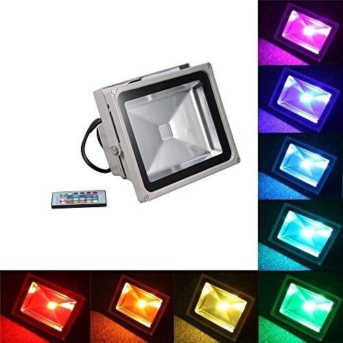 1pcs Reflector Led RGB Floodlights 50W Flood Lighting IP65 Outdoor 85 265V Spotlights+ Remote Controller Spot Garden