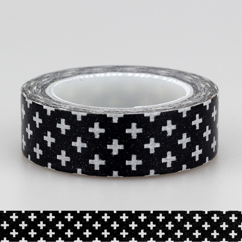 1X 15mm Adehive Tape Black Cross Stars Chevrons Set Print Scrapbooking DIY Craft Sticky Deco Masking Japanese Paper Washi Tape