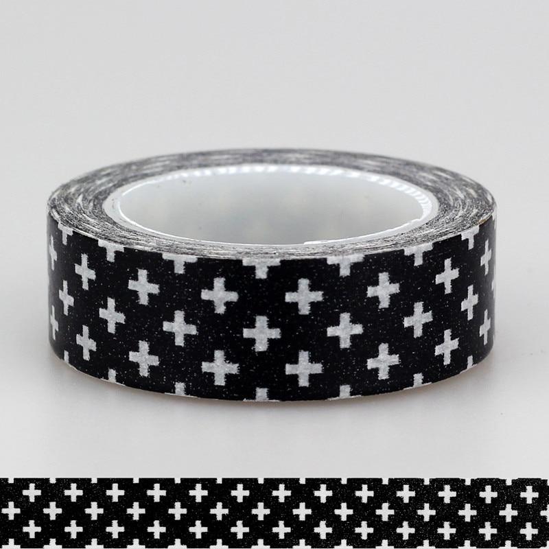 1X 15mm Adehive Tape Black Cross Stars Chevrons Set Print Scrapbooking DIY Craft Sticky Deco Masking Japanese Paper Washi Tape