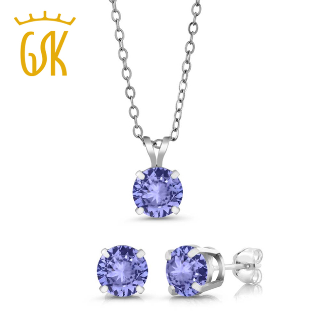 Gemstoneking 2 40 Ct Round 6mm Blue Tanzanite Aaa 925 Silver Stud Pendant Earrings Set Purple Necklace