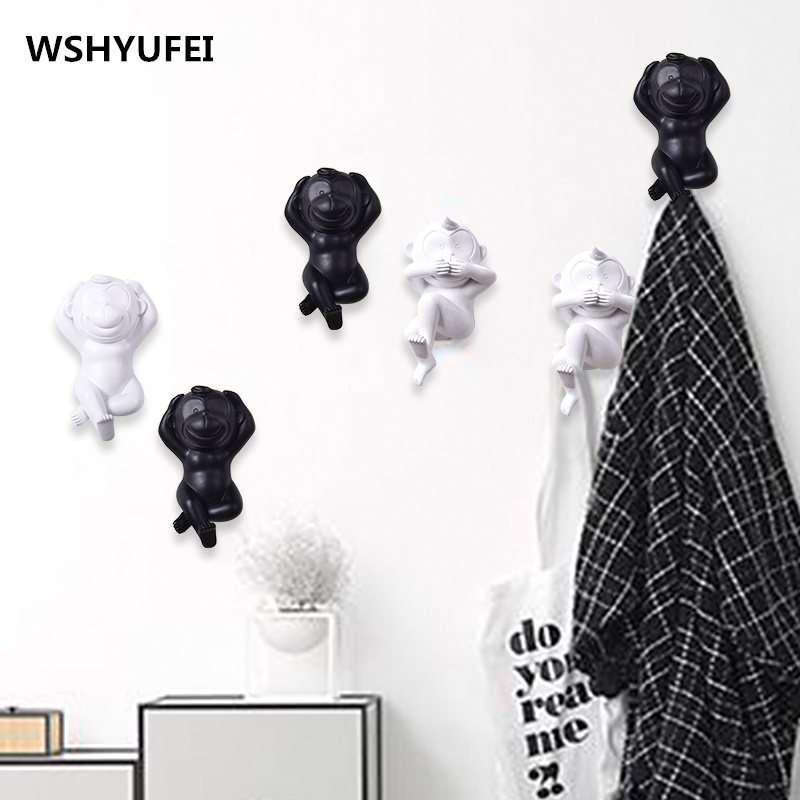 WSHYUFEI black and white resin animal hook home decoration coat hood hangers Resin House decoration caot hooks