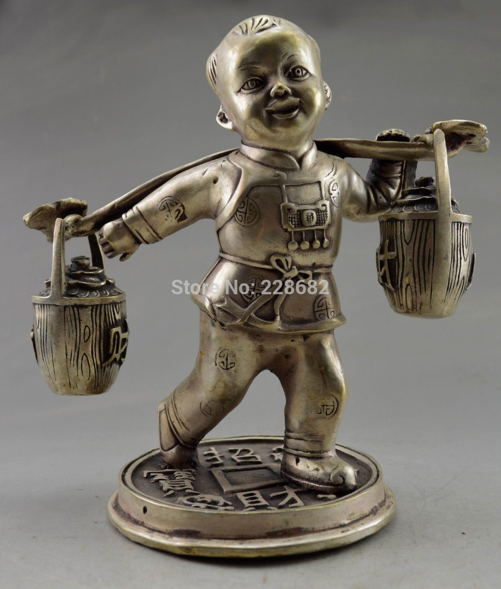 Metal Crafts Collectible Decorate Old Tibet Silver Child Carry Bucket Bring Money Coin Statue Fast Shipping