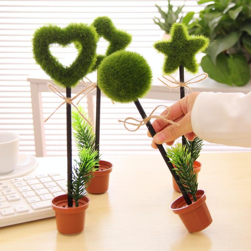 DL South Korea Creative Stationery Green Garden Plant Desktop Decoration Potted Flowerpot Ballpoint Pen Cartoon Supplies