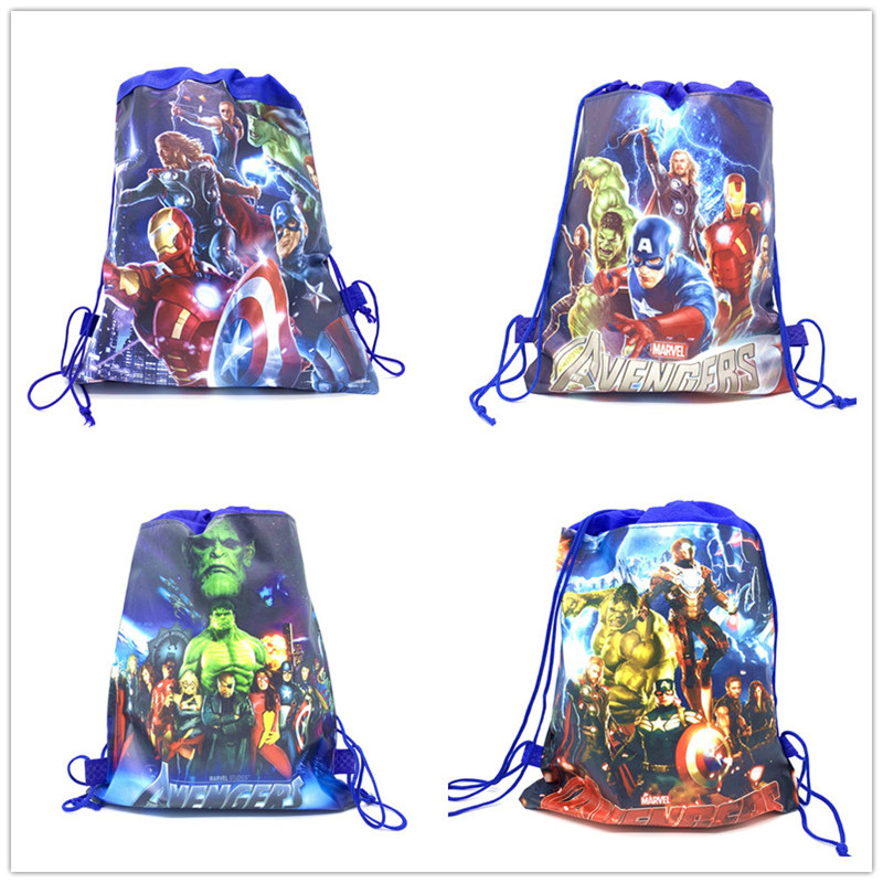 1Pcs Disney Avenger Baby Shower Non-woven Fabric Backpack Party Favor Child Boy School Bag Decoration Cartoon Drawstring Bag