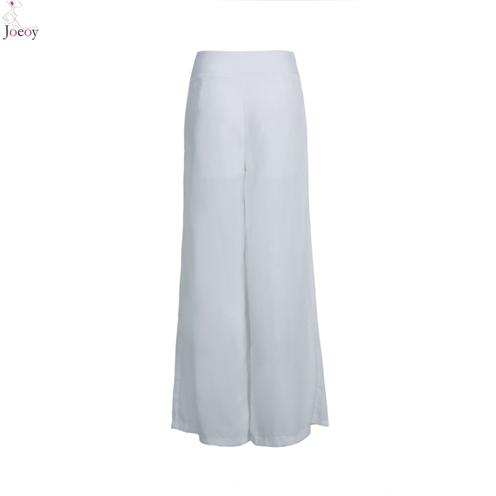 44df23b05d543 Women White High Waist Wide Leg Palazzo Pants 2016 Spring New Loose Zipper  Fly Pleated Zipper Fly Plus Size Summer Capris-in Pants   Capris from  Women s ...