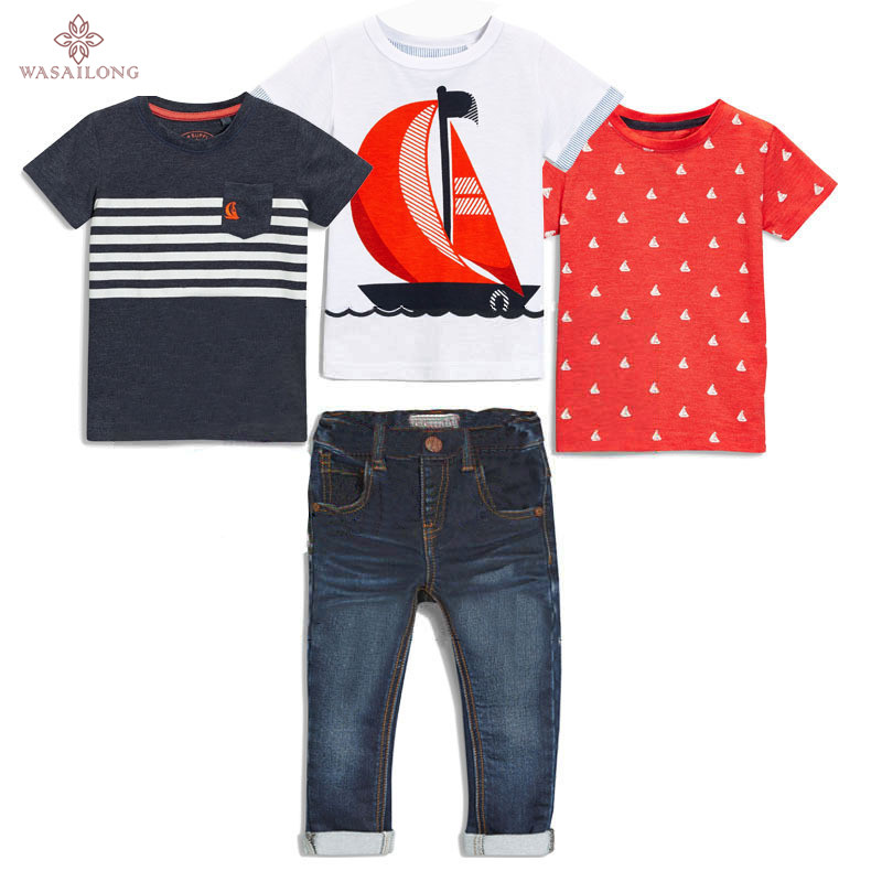 Wasailong NEW boys clothes In the summer 4pcs Short sleeve + denim trousers in summer clothing sets