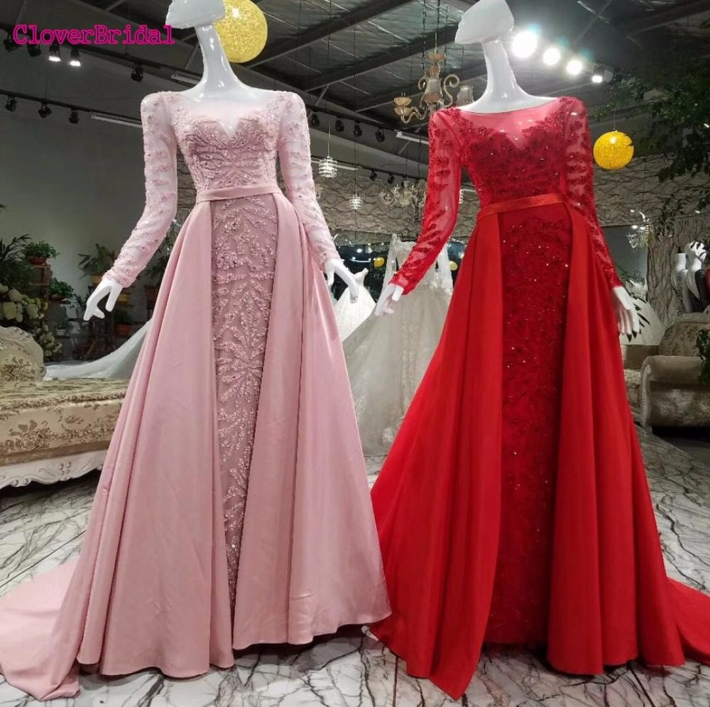 CloverBridal High quality long sleeves rose navy silver red luxury beaded evening  dress with long train 0ef5c19eb532