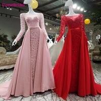 Cloverbridal высокого качества с длинными рукавами роза темно серебристого и красного цвета Роскошные бисером вечернее платье с длинным шлейфом